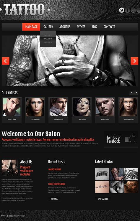 tattoo websites business theme web design templates