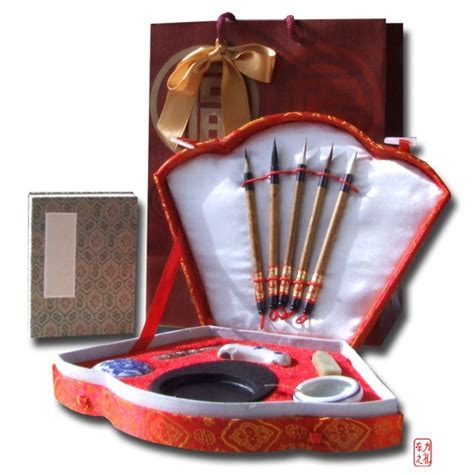 Gift Set   Chinese Calligraphy writing set red fan shaped
