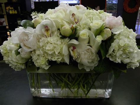 6 diy peony rose and hydrangea centerpieces for 50 all white long and low centerpiece containing peonies