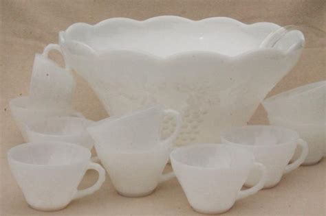 vintage design milk white punch set vintage milk glass punch bowl cups set anchor hocking