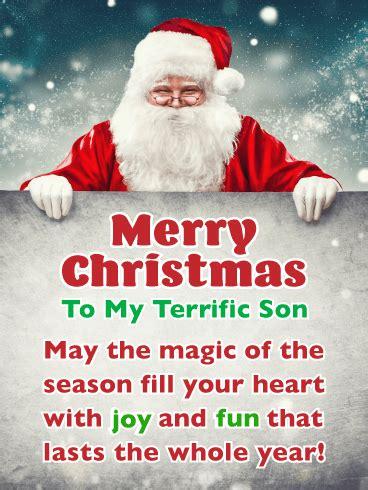 joy fun merry christmas card  son birthday greeting cards  davia