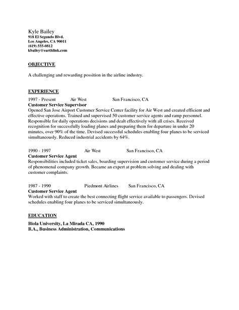 Service Letter For Flying airline customer service cover letter sle cover