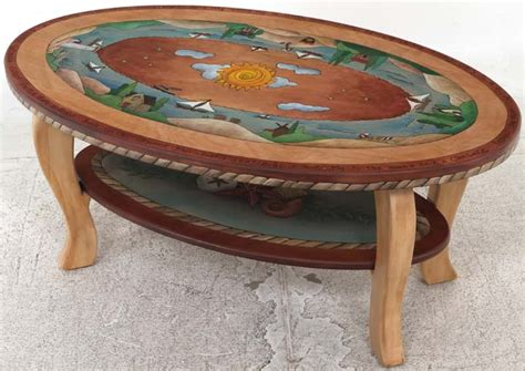 Home Decor Sticks sticks coffee table oval with curvy legs and shelf