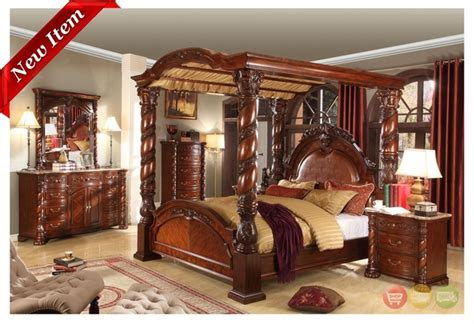 wood canopy bedroom sets castillo de cullera canopy bedroom collection cherry finish free shipping shopfactorydirect