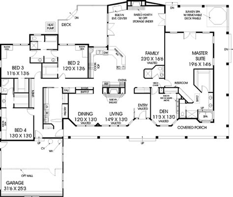 4 bedroom ranch style house plans ranch style house plans 3600 square foot home 1 story