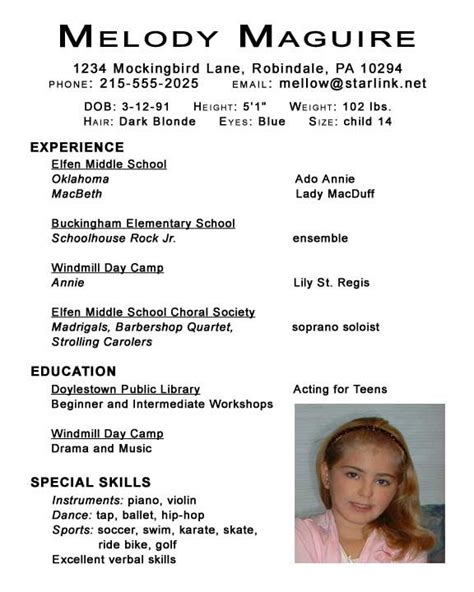Child Acting Resume Template No Experience 1000 images about resume exles on theater