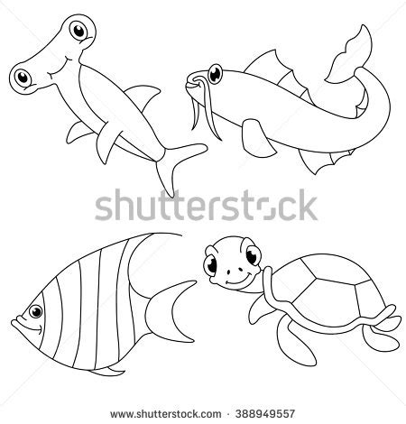 underwater sea creatures coloring pages stock images similar to id 55904689 cartoon animals big