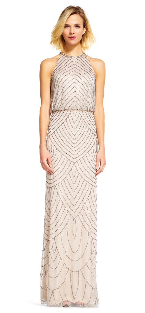 beaded deco dress papell deco beaded blouson dress with halter