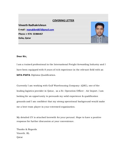 Ground Attendant Cover Letter by Vineeth New Cv With Covering Letter