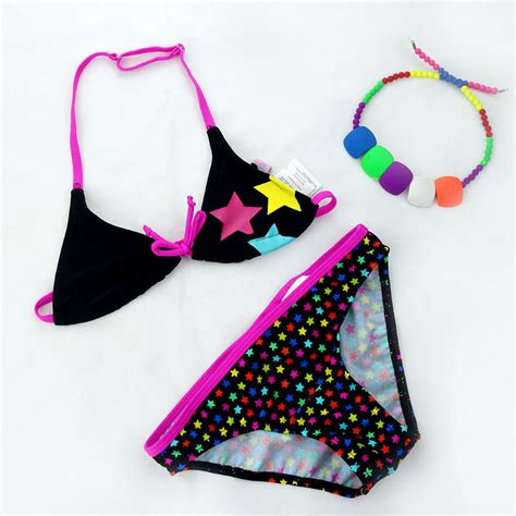 cute pattern bathing suits 4 11 years children cute colorful stars pattern split