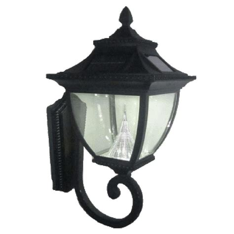 Solar Powered Outdoor Light Fixtures Hton Bay 1 Light Black Outdoor Wall Lantern Bpm1691 Blk The Home Depot