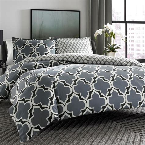 geometric bedding modern cotton black grey white reversible geometric duvet