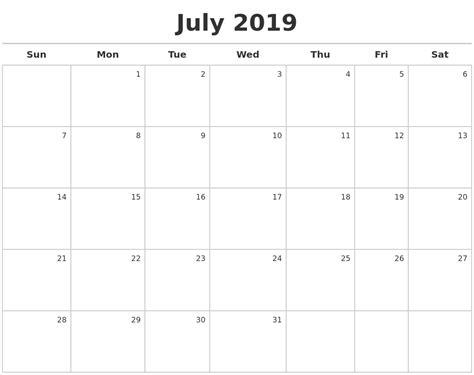 July 2019 Calendar Maker