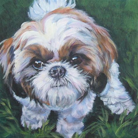 shih tzu portrait shih tzu portrait 12x12 quot canvas print of painting thedoglover pinklion