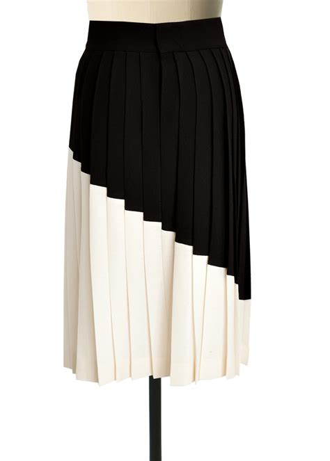 black and white georgette pleated skirt elizabeth