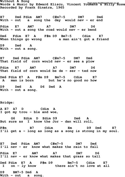 song lyrics and chords song lyrics with guitar chords for without a song frank