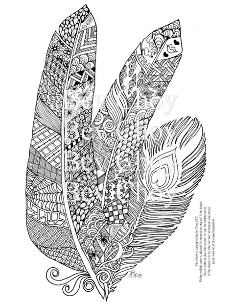 bird mandala coloring pages adult coloring page three feathers by bevchoyart on etsy
