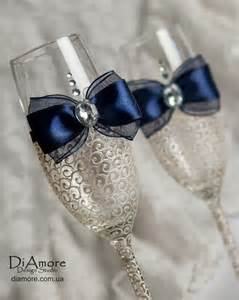 Lace Navy Blue And Ivory Wedding Glasses Champagne
