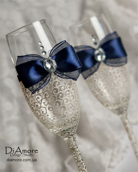party glasses swarovski crystal lace navy blue and ivory wedding glasses by diamoreds