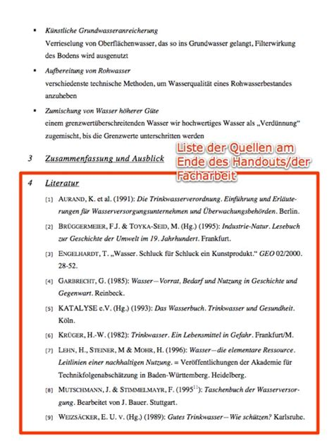 Muster Quellenverzeichnis Quellen Korrekt Angeben Herr Kalt De