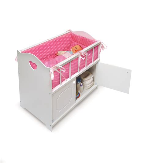 Crib With Storage badger basket white storage doll crib with bedding by oj commerce 19000a 34 09