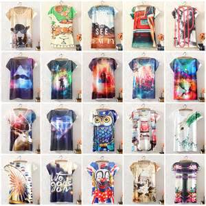 Cy50829 T Shirt Top Blouse Printed Import new vintage summer womens sleeve graphic printed t shirt blouse tops