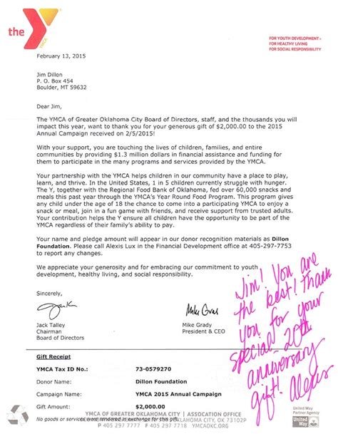 Scholarship Letter To Ymca ymca recognizes 20 years of support