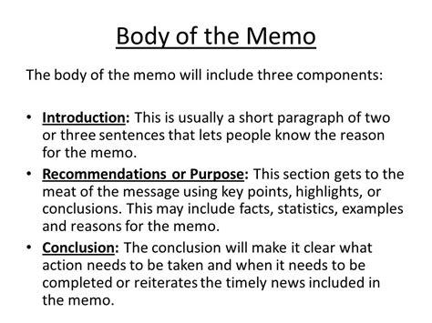 Memo Format Conclusion Memo Writing Ppt