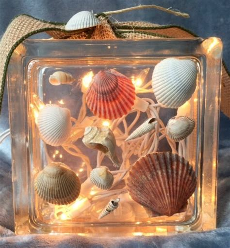 beach glass block ideas with shells seaglass christmas
