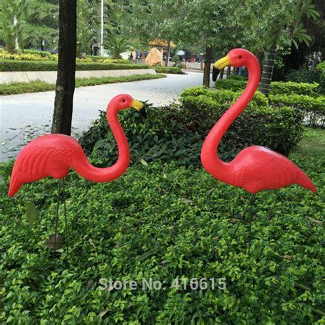 tripleclicks 2pcs plastic pink simulation flamingo