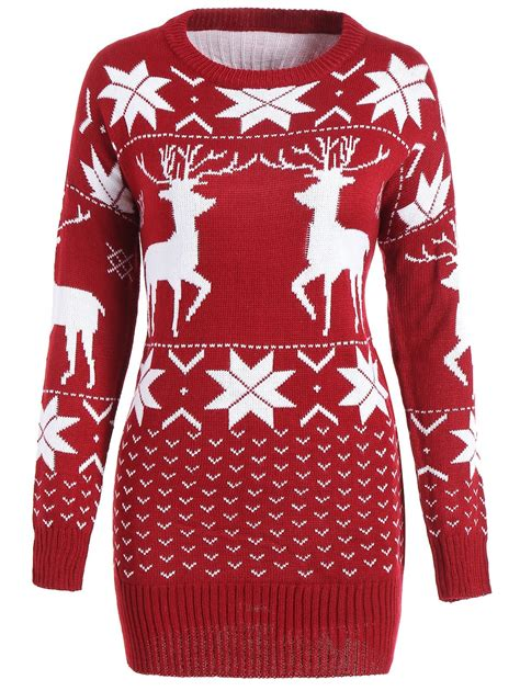 christmas pattern tunic maple leaf deer tunic christmas sweater wine red one