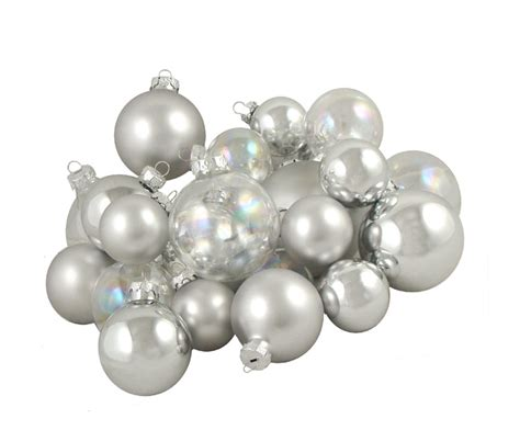 club pack of 23 clear iridescent silver glass ball