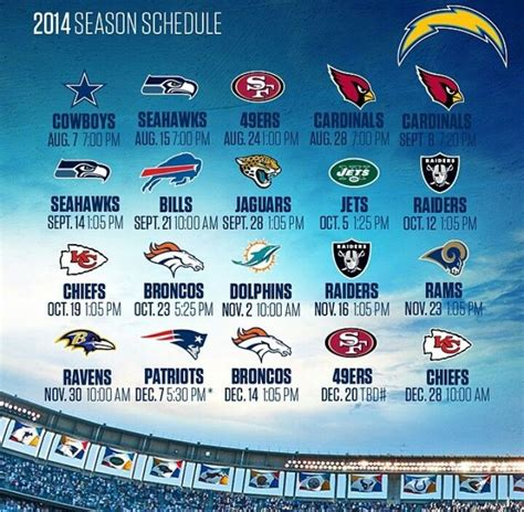 san diego chargers football schedule 2014 chargers 2014 schedule football