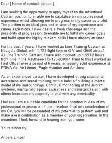 Pilot Cover Letter Sample