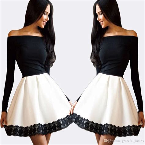 Black White List Dress black and white ballerina dress a line homecoming dresses the shoulder