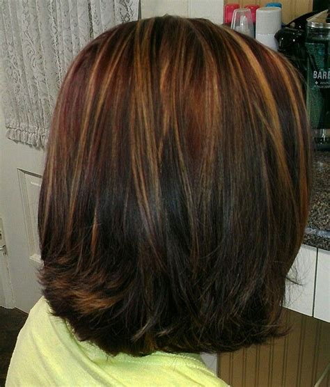 copper lowlights for short blonde hair red with carmel highlights and med brown lowlights hair