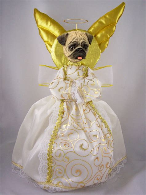 pug fawn angel tree topper furrypartners