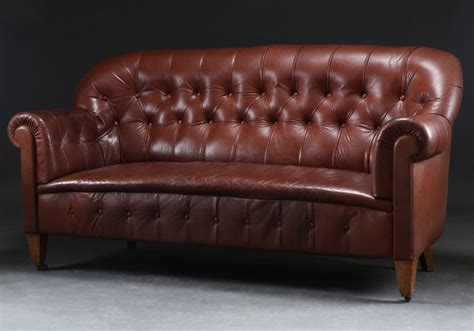 late 19th century button back leather sofa seating