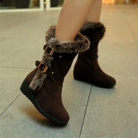 cheap winter fashion toe fur patchwork buckle