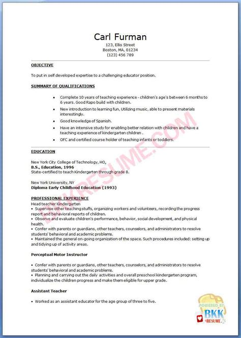 sample resume format technical experience resume format