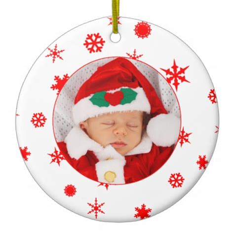 baby s first christmas personalized photo ornament zazzle