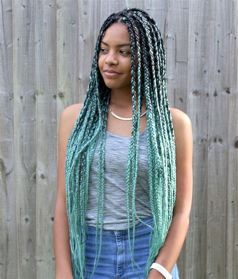 colored box braids on pinterest ombre box braids blonde catface hair mint green ombre jumbo braiding hair