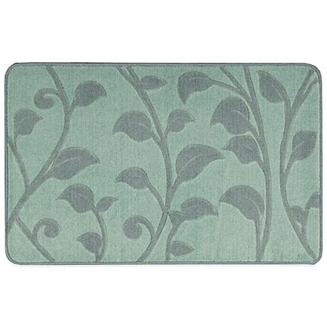 Nourison Kitchen Rugs Nourison 2 Foot 9 Inch X 1 Foot 8 Inch Leaves Kitchen Rug In Blue Bed Bath Beyond