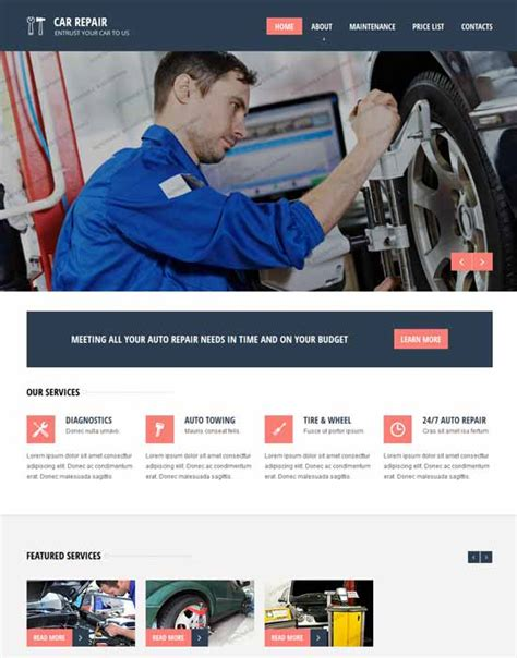 60 Fantastic Automobile Car Dealer Website Templates Car Repair Responsive Website Template Free