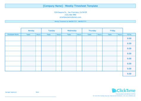 weekly timesheet template  multiple employees clicktime