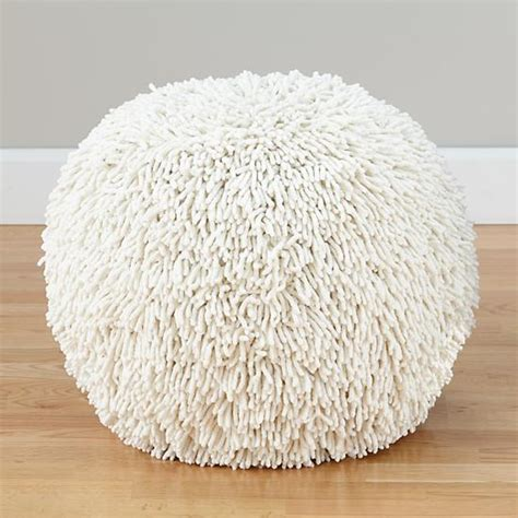 shaggy bean bag chair shaggy pouf white the land of nod