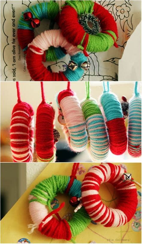 diy ornaments yarn diy tutorial yarn wreath ornaments karton als basis en dan omwikkelen met stof of