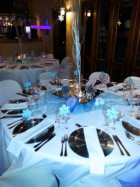 Winter wonderland theme table setting at Cabanga