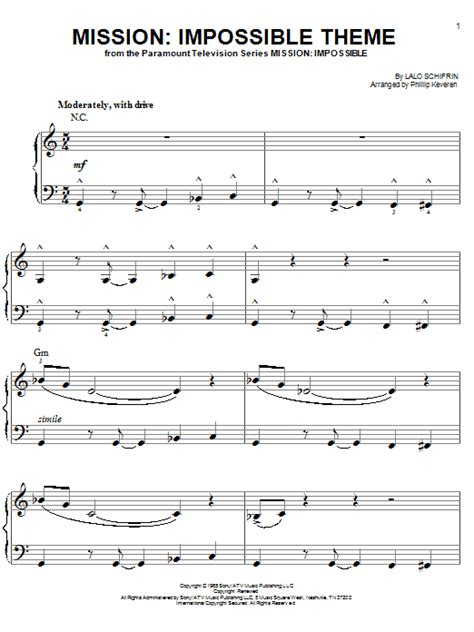 theme music mission impossible download impossible theme sheet music by lalo schifrin easy piano