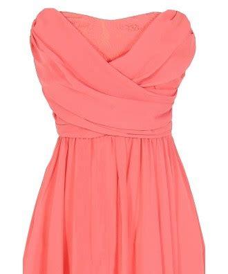 Strapless Chiffon Midi Dress strapless chiffon and lace midi dress in coral